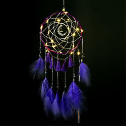 LED Light Dream Catcher Feathers Handmade Bedroom Wall Hanging Decor Ornaments $14.99
