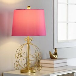 Princess Carriage Table Lamp Nightstand Accent Night Light Kid Girl Pink Gold $110.64