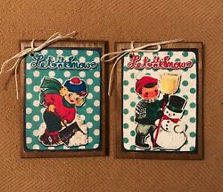 **NEW** 5 Wooden 50#x27;s CHRISTMAS KIDS Ornaments HangTags GiftTags SET A $8.95
