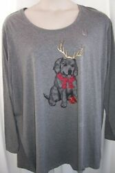 Catherines Plus 5X 34 36W Gray Puppy Dog Reindeer Christmas Top Tunic NWT $19.99