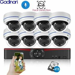 POE Camera IP System NVR Gadinan HD Face Detection 8CH 5MP Kit Audio Vandalproof $246.99