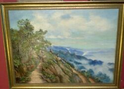 Fine Italian Antique Framed Oil on Canvas.Mountain Pass and Figure Study. Signed GBP 165.00