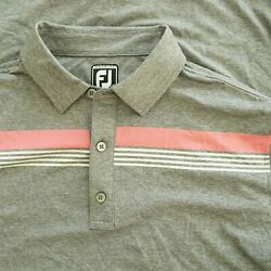 FootJoy Mens Athletic Fit Polo Shirt Size Large Grey Pink White Stripe Polyester $24.95