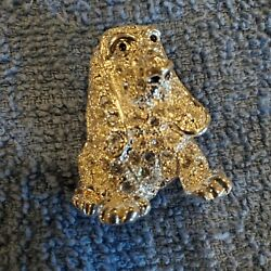 Vintage Roman Signed Brooch Pin Jewelry Hound Dog Crystals Silver Tone $24.99