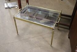 Gold brass glass coffee table furniture showroom sample GREAT condition price $55.00