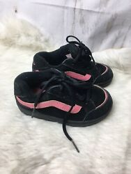 VANS OFF THE WALL GIRLS BLACK amp; PINK TODDLER SNEAKERS SHOES SIZE 7.5 $18.00