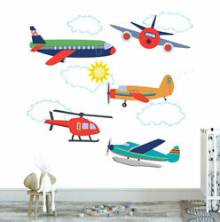 Aircraft Airplane Helicopter Kids Wall Stickers Boys Decals Home Nursery Decor AU $26.99