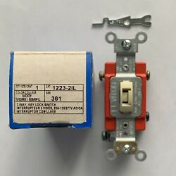 Leviton 1223 2IL Key Lock Switch 3 way Ivory with Key UL Listed New in box