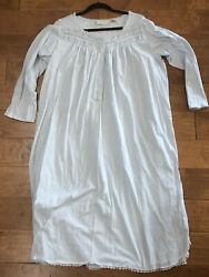 Eileen West Long Cotton Knit Blue Mid Calf Nightgown Embroidered XL $34.99
