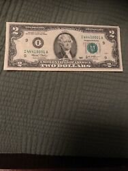 $2 NOTE W FANCY SERIAL NUMBER Rated 98.4 on Coolness Meter And Ink Error $50.00