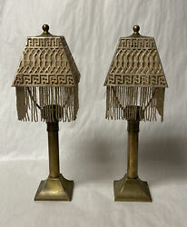 PAIR of ANTIQUE MINIATURE OIL LAMPS CANDLE HOLDERS PIERCED BRASS BEADED SHADES $195.00