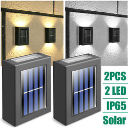 【2 Pack】 Outdoor Solar LED Street Wall Lights Dusk to Dawn Lighting Fixture Lamp $13.95