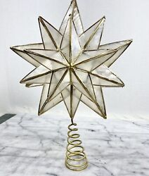 CAPIZ SHELL Star Christmas Tree Topper Gold Wire Ornate Decor REPAIRED 15 Points $15.00
