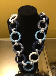 Chicos necklace nwt India beaded shades of blue white and grey Ships free $25.00