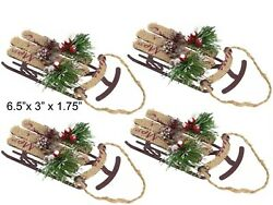 4 Sled Sleigh Christmas Tree Ornaments Holiday Rustic Decorations Set Lot Vtg $24.99