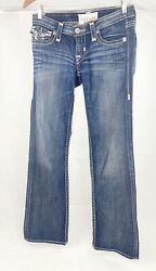 Big Star Womens Liv Boot Dark Blue Stretch Bootcut Denim Jeans Size 25R $39.99