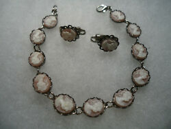 Vintage nos silver tone pink white Cameo bracelet earrings combo $1.50