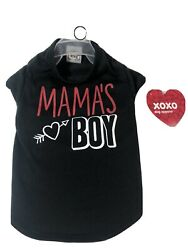 SIMPLY WAG VALENTINES DAY Black Red Trim quot;MAMA'S BOYquot; T SHIRT Puppy Dog SMALL $10.99