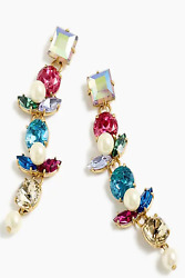 J CREW CRYSTAL AND PEARL DROP MULTICOLOR EARRINGS NEW WITH TAGS $24.99