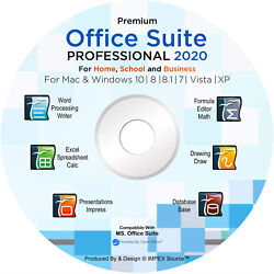Office Suite 2020 CD DVD Compatible with Microsoft® Word® Excel® for Windows MAC $13.95