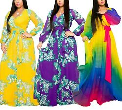 5XL Women#x27;s Chiffon Flower Print V neck Beach Plus Size Long Elegant Loose Dress $29.99