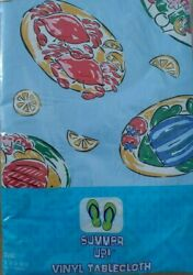 NIP Summer Up Vinyl Oval Blue Tablecloth 52quot; x 70quot; Summer Picnic fruit plates $5.67