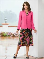Womens Plus 3X Spring Easter Pink Floral 3 PIECE Jacket Top amp; Skirt Suit Set NEW $34.99