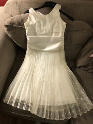 Girls Size 12 Fancy Party Easter Dress By Bonnie Jean Ivory Color Pleated Skirt $6.99