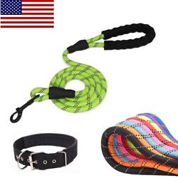 Heavy Duty Dog Walking Harness Premium Reflective Rope Leash with Padded Handle $5.98