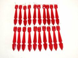 20 Vtg NOS Plastic Crystals Prisms Red Chandelier Lamp Candlestick Replacements $14.99