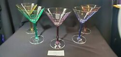 Contemporary set 5 elegant martini glass each its own color swirl w solid stem $28.99