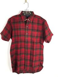 Vintage PENDLETON Large Men Red 100% Wool SHORT Sleeve Button Shirt L $38.00
