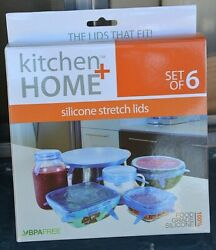 Kitchen Home Reusable Silicone Stretch Lids Food Saver Covers Set of 6 $5.99