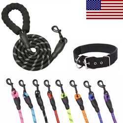 Heavy Duty Large Dog Collar Leashes 5FT Reflective Lead Rope with Padded Handle $11.99