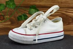 Converse All Star Toddler Boys 4 Medium White Low Top Fabric $17.99