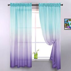 Lilac and Turquoise Curtains for Bedroom Girls Room Decor Set of 2 Panels Omb... $29.44