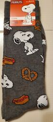 PEANUTS SNOOPY FOODIE MENS NOVELTY CREW SOCKS 1 PAIR SZ 10 13 FREE SHIPPING $8.75
