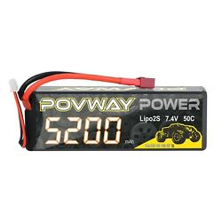 POVWAY 5200mAh 2S LiPo Battery 50C 7.4V RC Battery Hard Case for RC Cars RC ... $19.32