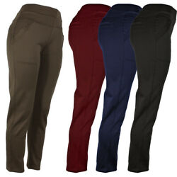 Womens Stretch Dress Pants 4 Pocket Solid Pants With Button Decoration $14.99