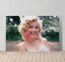 Marilyn Monroe Canvas Print Decorative Modern Wall Art Flower in Mouth $19.99