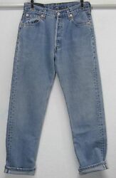 LEVI#x27;S 501 FOR WOMEN BUTTON FLY W30 L32 HIGH WAISTED BLUE BOYFRIEND JEANS USA $98.99