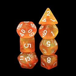 Walking the Sun Orange Yellow Glitter 7 Dice Set by HendgaDice $7.99