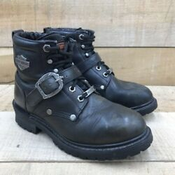 Harley Davidson Womens Tegan Ankle Boots Black Leather Lace Up Buckle Strap 6.5 $59.99