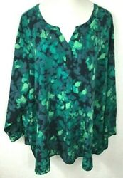 Catherines Plus 5X Lovely Artsy Green Floral Shirt Blouse Tunic Top Art to Wear $39.99