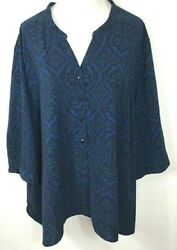 Catherines Plus 5X Lovely Artsy Blue Floral Geometric Shirt Blouse Tunic Top $29.99
