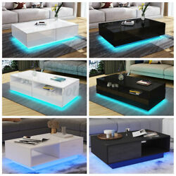 High Gloss RGB LED Coffee Table with Drawers Storage Modern Sofa Side End Table $88.99