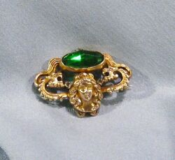 Antique Victoria RARE Gold Filled Lady Face Dragon Lion Heads Pin Brooch $125.00