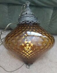 Vintage Swag Lamp Large Amber Glass Hanging Light on chain $245.00