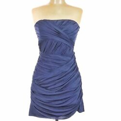 INTERMIX GOLDE Sm Med Silk Cocktail Chiffon $398 Navy Strapless Dress Ruched $47.95