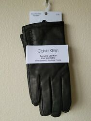 Calvin Klein Mens Black Fleece Lined Genuine Leather Touchscreen Gloves Sz M amp; L $24.95